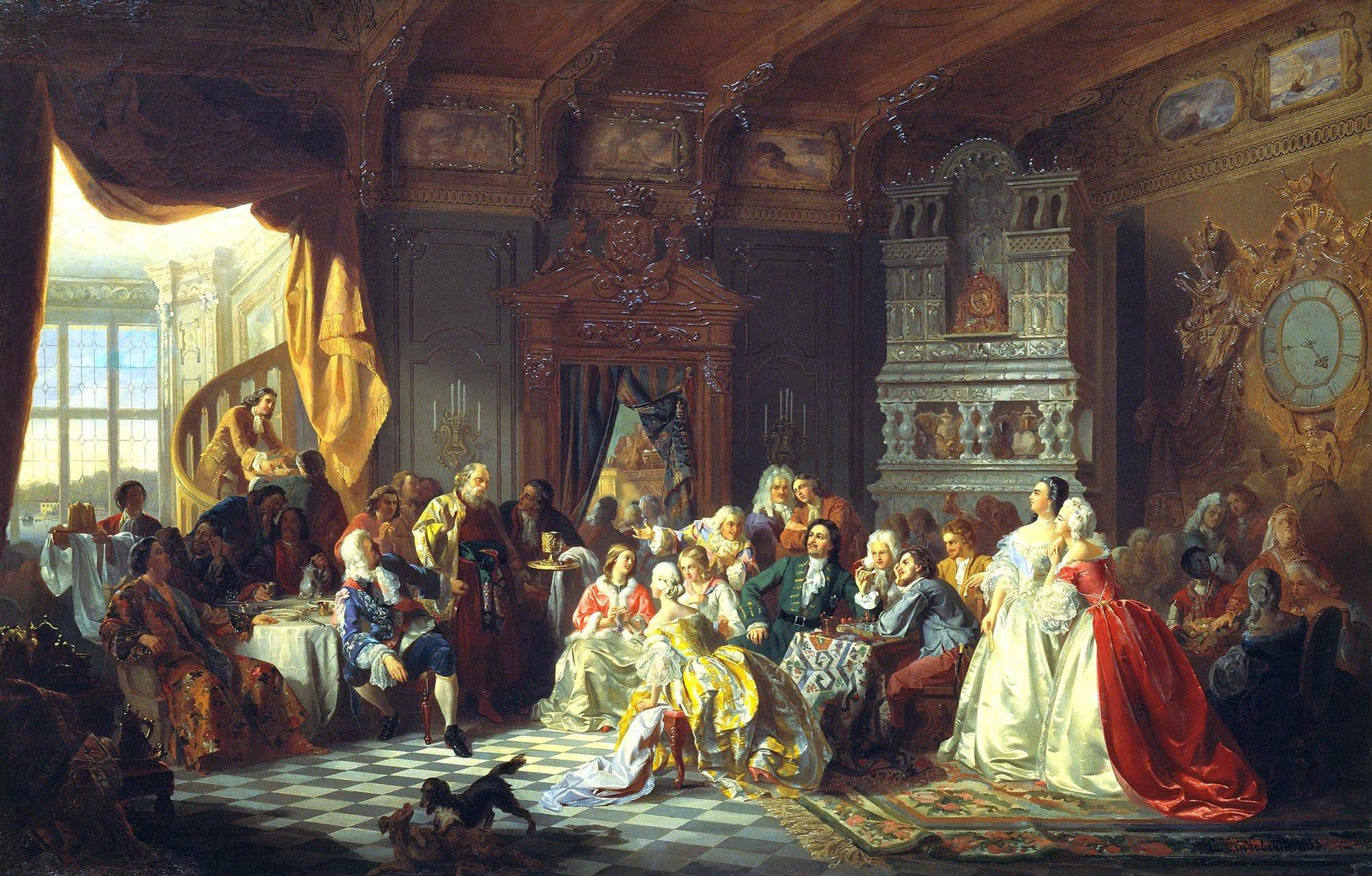 Станислав Хлебовский. Ассамблея при Петре Первом (1858)