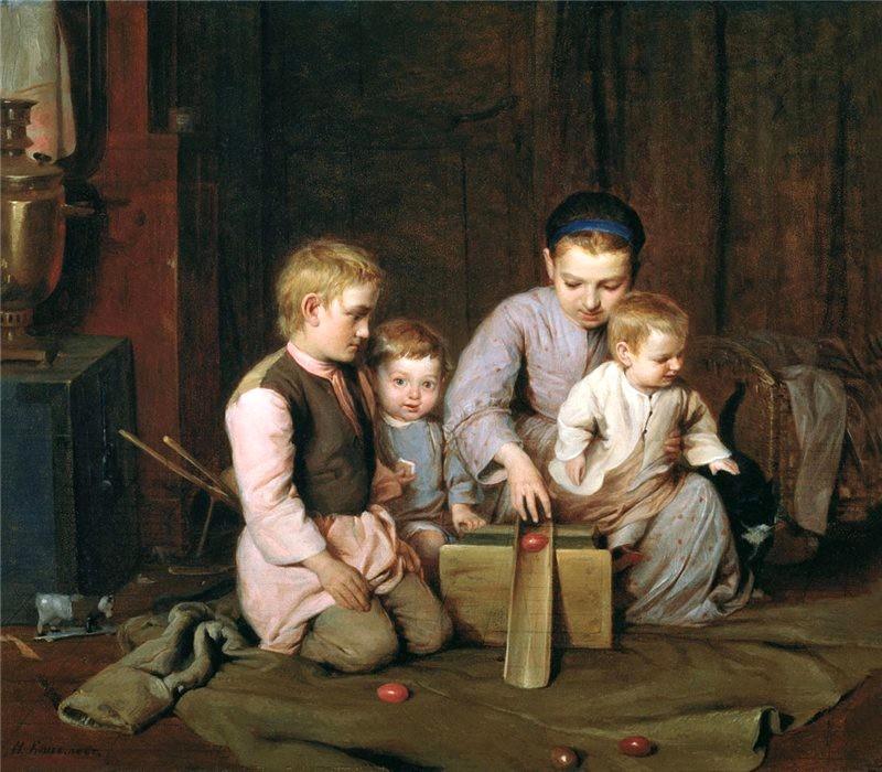Николай Кошелев. Дети, катающие пасхальные яйца (1855 г.)