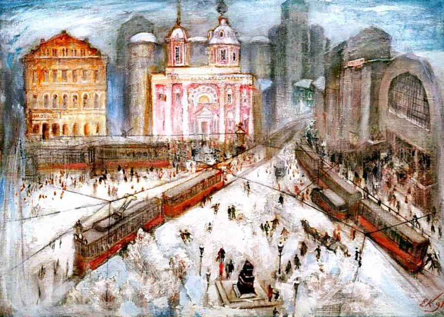 Евгений Куманьков. Арбатская площадь (из серии «Москва, которой больше не будет», 1996 г.)