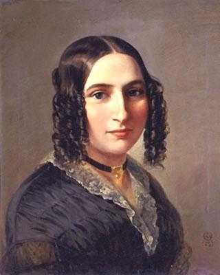 Фанни Гензель, урождённая Мендельсон-Бартольди, сестра Феликса (портрет кисти Морица Дэниеля Оппергейма, 1842 г.)