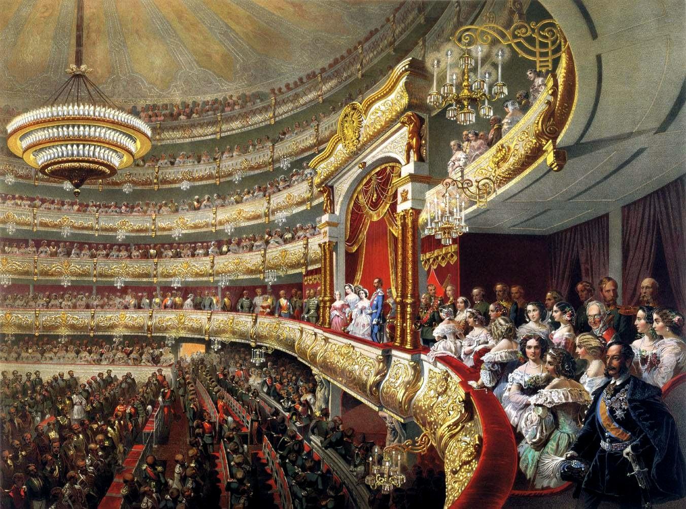 Михаил Зичи. Спектакль в московском Большом театре по случаю священного коронования императора Александра II (1856 год)