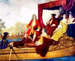 Эдуард Жан Конрад Хамман. Музыка на воде (XIX век). На картине изображен праздничный лодочный кортеж короля Великобритании Георга I, путешествующий по реке Темзе, во время которого на сопровождающей короля барже играет оркестр. Это первое исполнение «Музыки на воде». Георг Фридрих Гендель слева, с выставленной рукой...