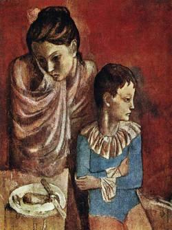 Пабло Пикассо. Мать и сын, бродячие акробаты (1905 г.)