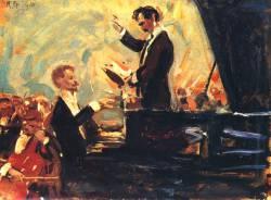 Роберт Штерль. Концерт для фортепиано (1910 г.).  На картине С. Кусевицкий (дирижёр) и А. Скрябин