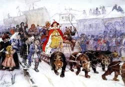 Василий Суриков. Большой маскарад в 1772 году на улицах Москвы с участием Петра I и князя кесаря И. Ф. Ромодановского (1900)