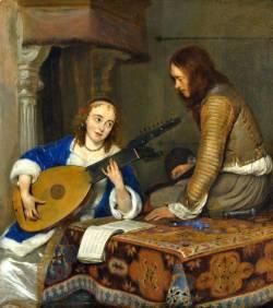 Герард Терборх. Женщина, играющая на теорба-лютне (1658)
